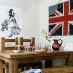 Traditional-white-dining-room-with-oak-dining-set-and-patriotic-prints-920x920